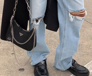 jeans, look, and black coat image