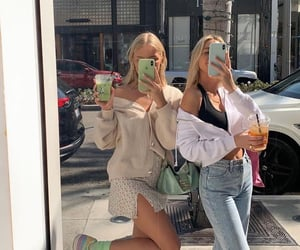 bag, girls, and drinks image