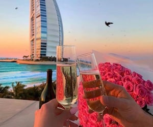 champagne, Dubai, and roses image