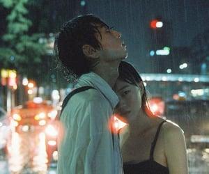 hug, rain, and couple image