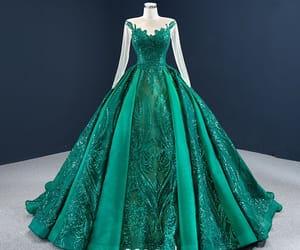 dark green dress, girl, and long dress image