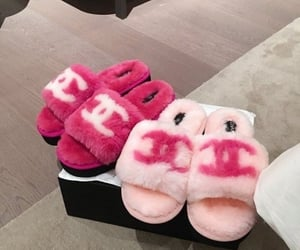 chanel, fuzzy, and slides image