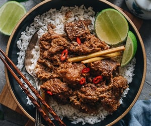 curry, rice, and asian food image
