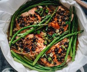 asparagus, salmon, and asian food image