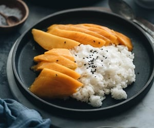 dessert, mango, and thai food image