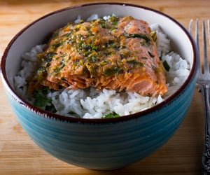 jerk, rice, and salmon image