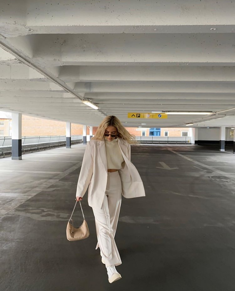 everyday look, wide leg pants, and beige blazer image
