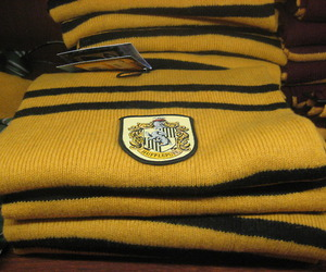 harry potter, hufflepuff scarf, and f.a.o schwartz image