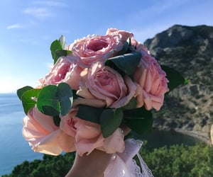 bouquet, pink roses, and roses image