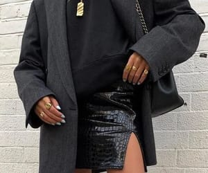 Faux Leather Skirt and Oversized Blazer #blazer #leather #skirt