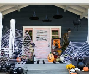 halloween porch, entryway decoration ideas, and spooky halloween porch image
