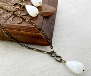 handmade jewelry, white necklace, and drop earrings image