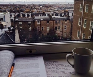 book, coffee, and rain image