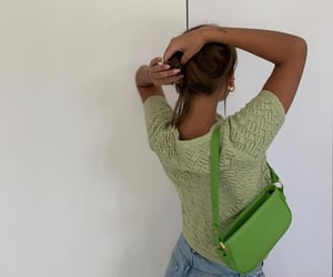 green top, green cardigan, and everyday look image