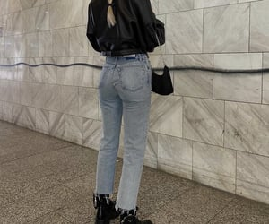 black leather jacket, everyday look, and prada boots image