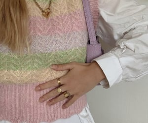 button up shirt, gold jewelry, and pastel colors image