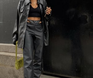 black leather jacket, everyday look, and black crop top image
