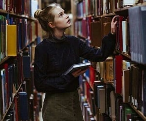 blonde, girl, and books image