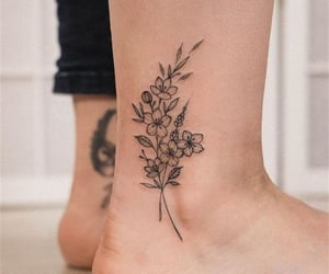 ankle, flowers, and inked image
