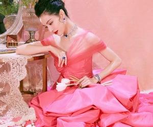chinese actress, pink dress, and dress image