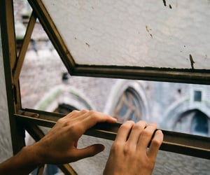 window, hands, and vintage image