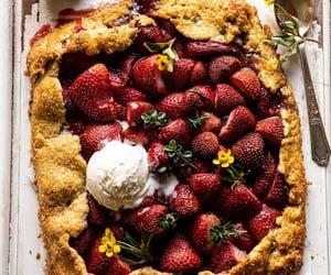 food, strawberry, and galette image