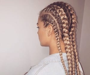 trenzas, girls, and hairs image
