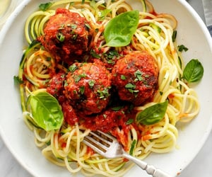 food, zoodles, and meatballs image