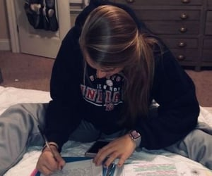 college, girl, and homework image