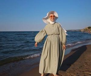 beach, hijab, and sea image