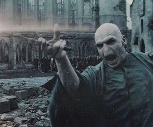 green, voldemort, and hogwarts image
