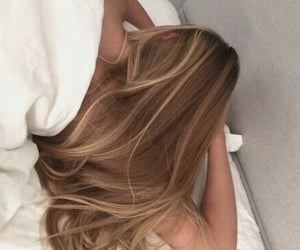hair, bed, and blonde image