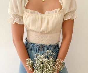 denim, style, and white outfit image
