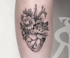 arm tattoo, girl tattoo, and heart tattoo image