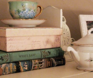 book, vintage, and tea image