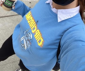 blue sweater, sydney carlson, and autumn fall style image