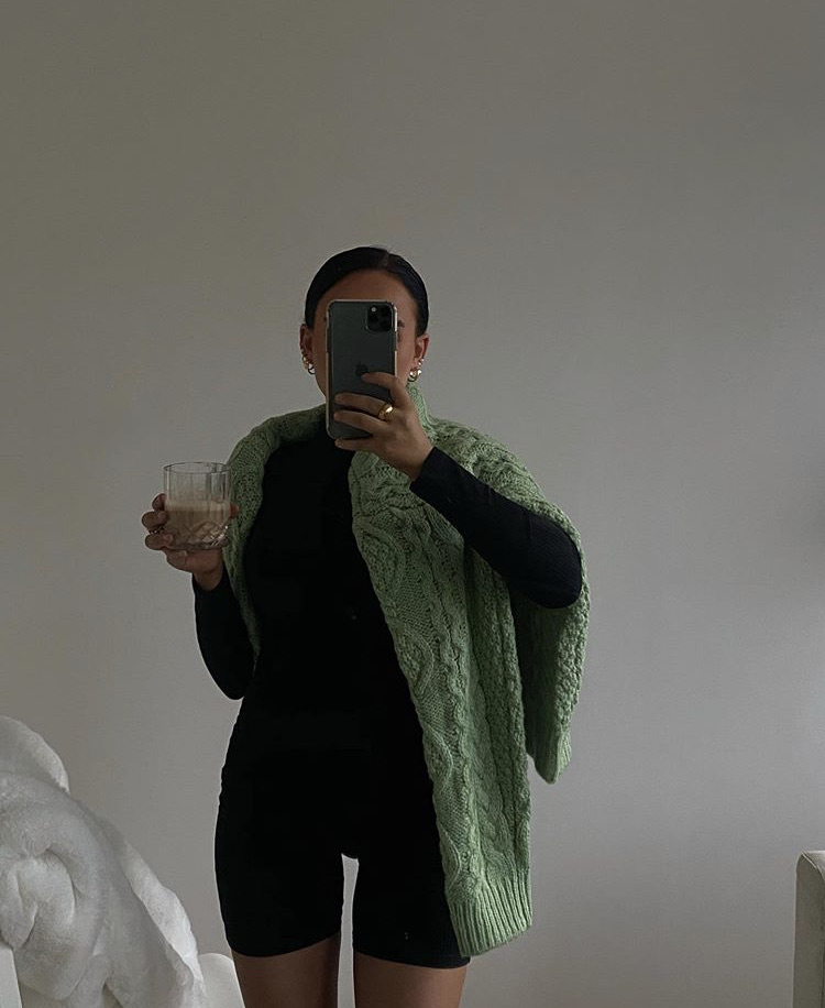 knitwear, green sweater, and long sleeve top image