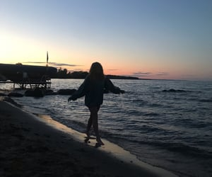 beach, hoodie, and ocean image