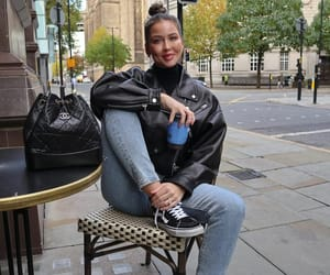 blogger, chanel bag, and leather jacket image