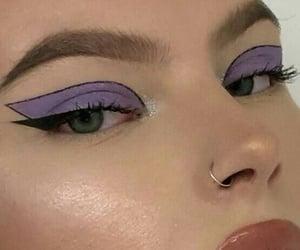 makeup, purple, and eyeliner image