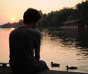 boy, sunset, and lake image