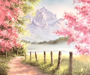 flowers, forest, and painting image