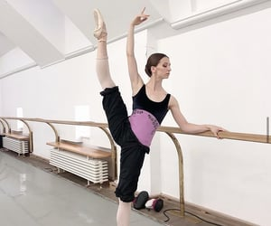 ballerina, pointe shoes, and barre image