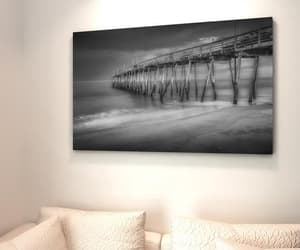 beach photo, black and white, and outdoor decor image