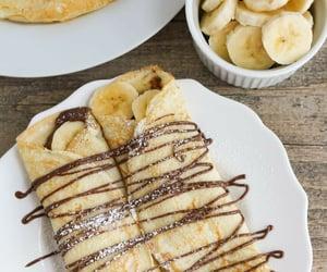 food, banana, and nutella image