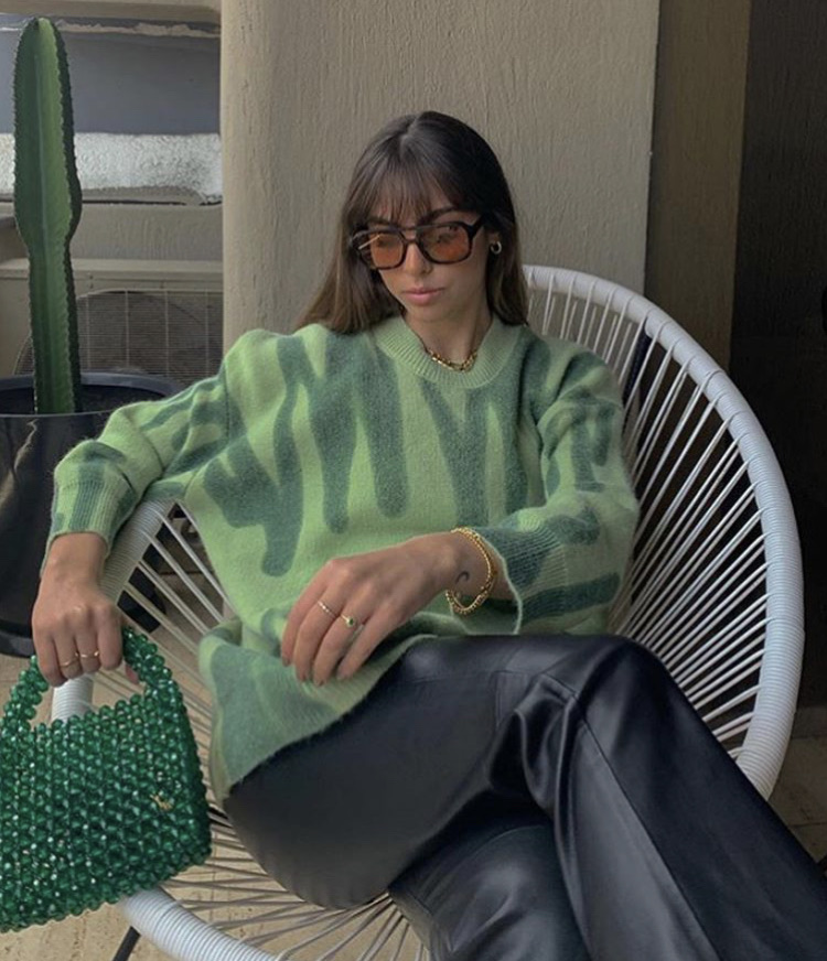 green sweater, everyday look, and leather pants trousers image