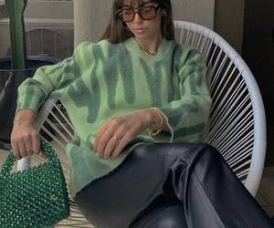 green sweater, accessories sunglasses, and outfit of the day ootd image