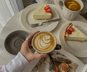 cake, coffee, and dessert image
