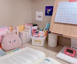 pink, school, and school supplies image