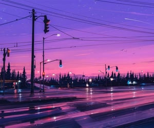 purple, city, and pink image